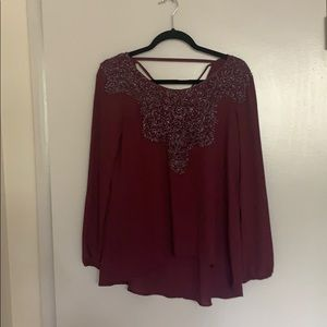 Wine Colored Top with Lace